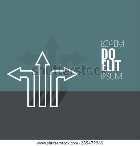 Vector abstract background with direction arrow sign. The concept of a decision making standing on road junction. Movement in an unknown direction. uncertainty choice. outline, minimal - stock vector