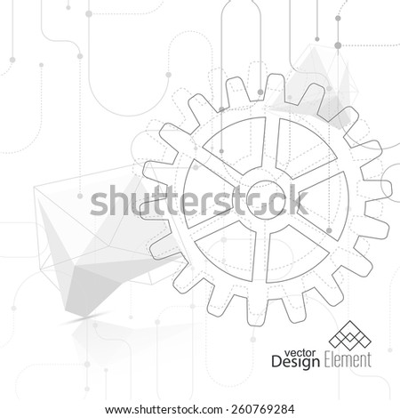 Vector abstract background with gear wheel, geometric shapes and dotted lines. schematic representation technical data. - stock vector