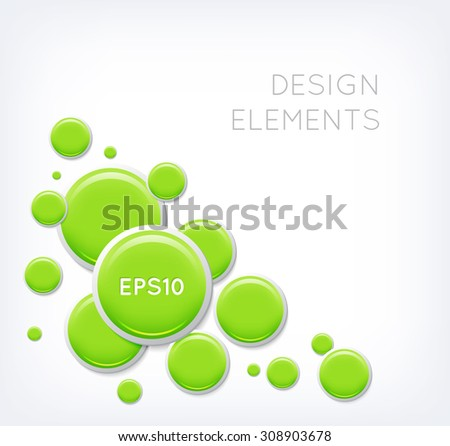 Vector abstract background with green glossy buttons