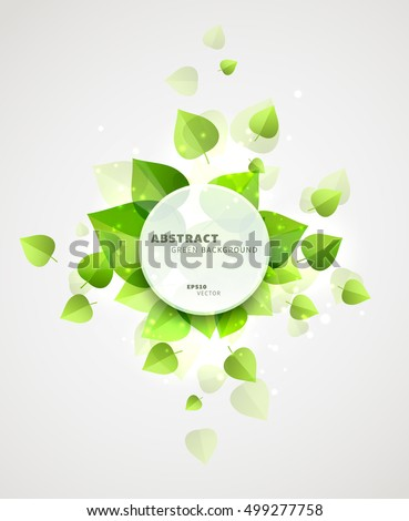 Vector abstract background with green leaves surrounding a round frame with a copyspace with some sample header. Nice summer or spring seasonal background. Fresh light and clean template.