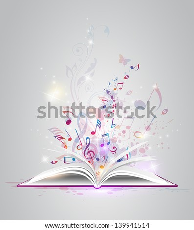 Vector abstract background with open book and notes - stock vector