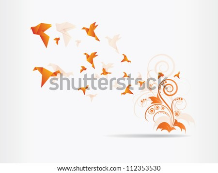 Vector abstract background with origami birds and floral elements and swirls - stock vector