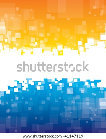Vector. Abstract background with random transparent squares and place for your message. - stock vector