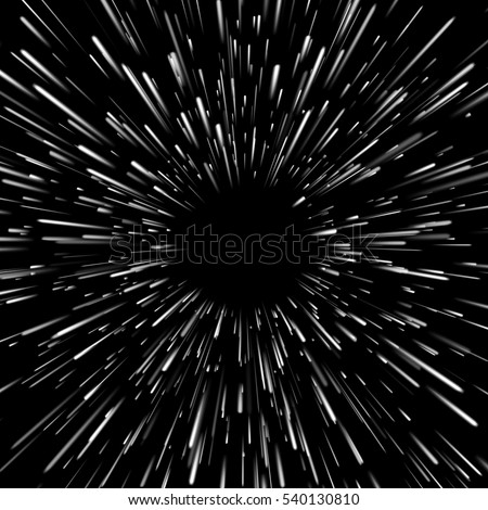 Vector abstract background with Star Warp or Hyperspace  with free space in the center, light of moving stars concept.