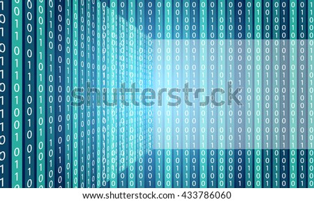 Vector abstract background with stripes and vertical binary code