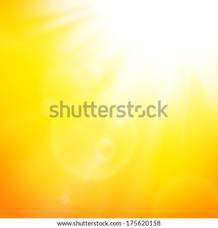 Vector abstract background with summer sun and lens flares - stock vector