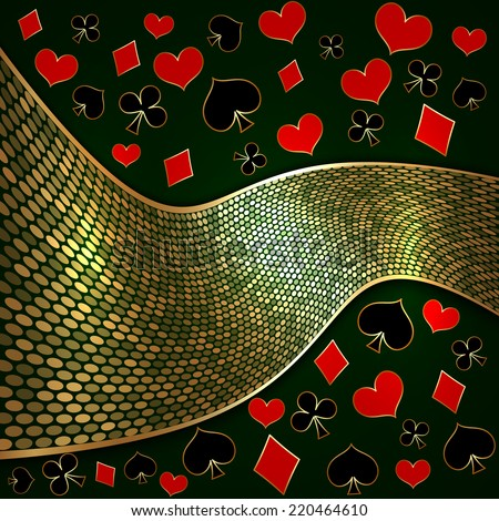 Vector abstract background with wide golden ribbon and playing cards suits
