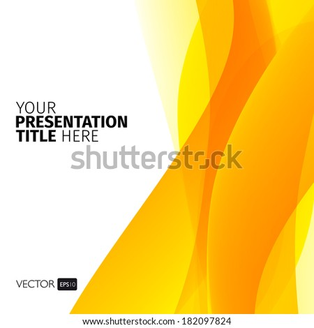 Vector abstract background with yellow waves. Presentation template. - stock vector