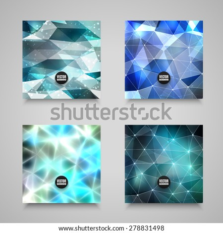 Vector abstract backgrounds collection. Set of geometric polygonal illustrations. High quality design elements. Eps10 - stock vector