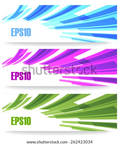 Vector abstract banner creative background set in blue, green, purple, violet colors in futuristic business modern design for header, web, card and other graphic with copy space for text. - stock vector