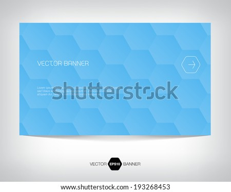 Vector abstract banner with bright blue geometric hexagonal background