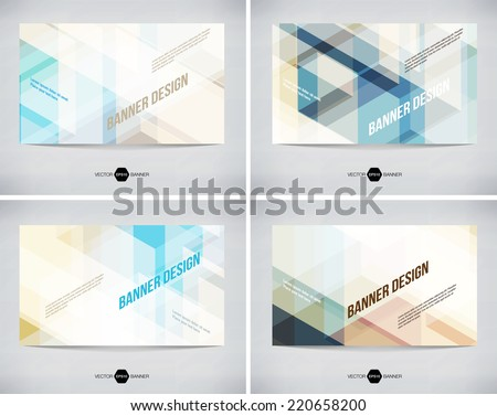 Vector abstract banners collection with modern light hi-tech background - stock vector