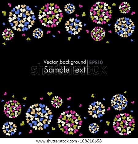 Vector abstract black background with stylized round origami flowers