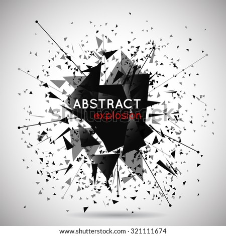 Vector abstract black explosion background. Space and energy, shape and effect, particle and power illustration - stock vector