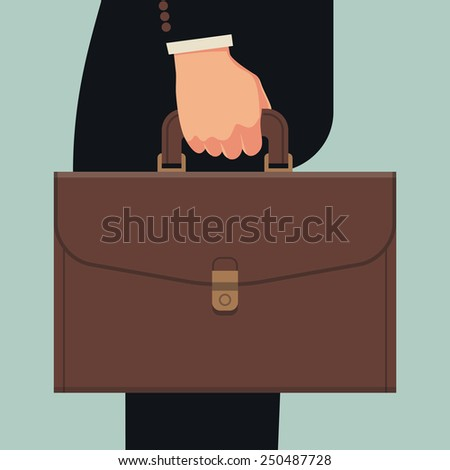 Vector abstract black suited businessman's hand holding briefcase, side view, isolated, flat design. Business concept background - stock vector