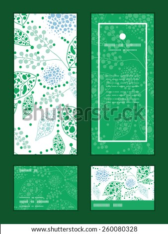 Vector abstract blue and green leaves vertical frame pattern invitation greeting, RSVP and thank you cards set - stock vector