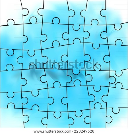 Vector Abstract blue background made from white puzzle pieces and place for your content - stock vector