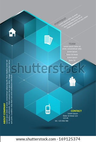 Vector abstract blue background with 3D cubes and corporate presentation icons and place for content. Can be used for brochures, posters, flyers and other printed materials. - stock vector