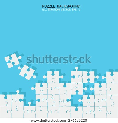 Vector Abstract blue background with white puzzle pieces and place for your content - stock vector