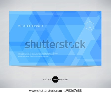 Vector abstract blue banner design with geometric hexagonal background