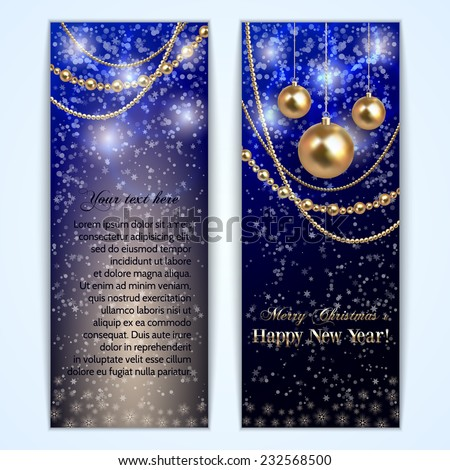 Vector abstract  blue Christmas and New Year Greeting or Invitation vertical two side vertical Card - stock vector