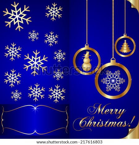 Vector Abstract Blue Christmas Invitation Card with golden balls and snowflakes