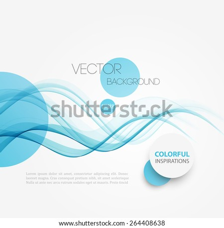 Vector Abstract blue curved lines background. Brochure or site design. - stock vector