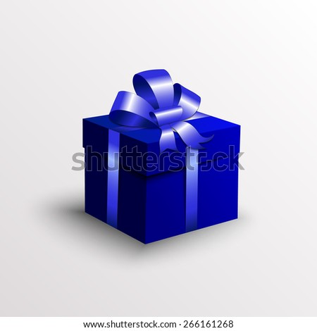 Vector abstract blue gift box with ribbon and bow