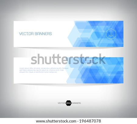 Vector abstract blue horizontal banners with geometric hexagonal background - stock vector