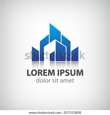 vector abstract blue icon, logo building silhouette isolated - stock vector