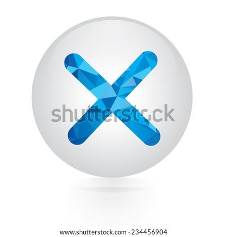 Vector - abstract blue incorrect mark icon. circular button  - stock vector