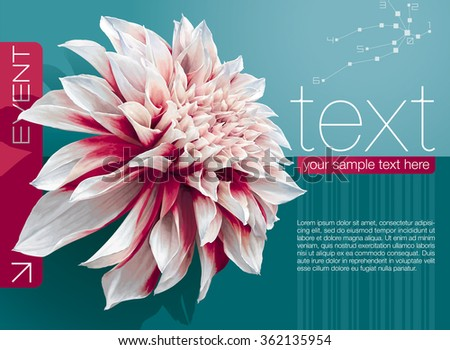 Vector abstract booklet cover with dahlia flower on sea-green background - stock vector