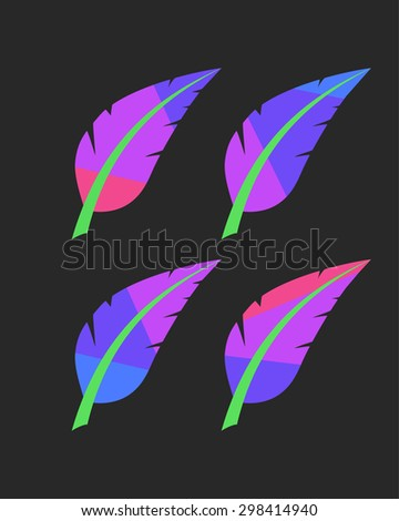 vector abstract bright colored feathers set on black background - stock vector
