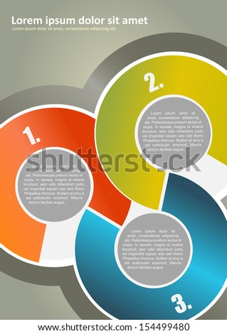 Vector abstract brochure background with three colored circles with numbers and place for texts - stock vector