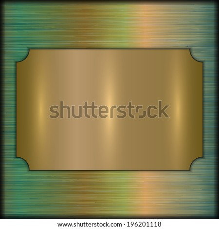 vector abstract brushed gold award plate on beige background - stock vector