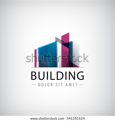 Vector abstract building colorful logo, icon isolated. Transparent geometric structure sign - stock vector