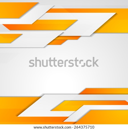 Vector abstract business background. Template brochure design. Orange technology lines - stock vector