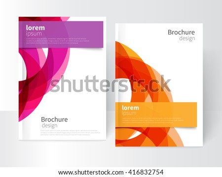 Vector Abstract Business Brochure, Annual Report, Leaflet Cover Template. Geometric abstract background yellow and purple circles intersecting. concept catalouge design. EPS 10 - stock vector