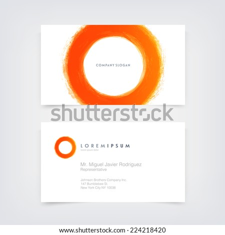 Vector abstract business card design template with hand painted circle logo - stock vector