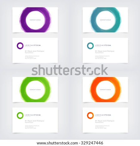 Vector abstract business card design templates stock vector royalty vector abstract business card design templates collection with hand painted circle logo reheart Choice Image