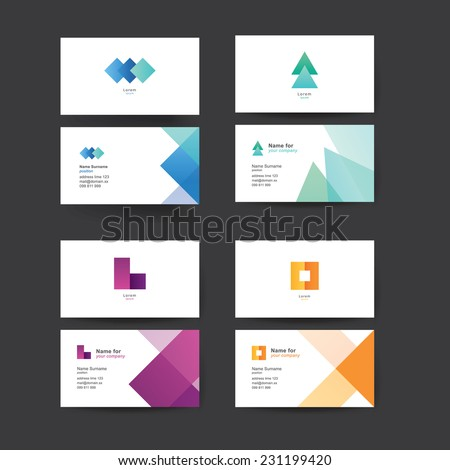 Vector abstract business cards. Colorful templates for business cards. Editable vector graphic. Pack of four. - stock vector