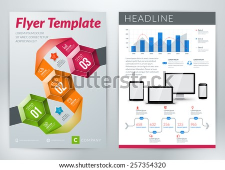 Vector abstract business flyer or poster template with infographics