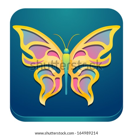Vector abstract butterfly icon - stock vector