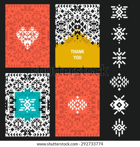 Vector abstract card templates for design wedding cards, party invitations, birthday, Valentines day, cover with tribal,  navajo, ethnic, geometric patterns - stock vector