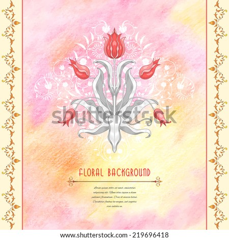 Vector abstract card with floral pattern and borders. Elegant decor with curls.  Delicate colored pencil background. Hand drawing. Place for your text.  - stock vector