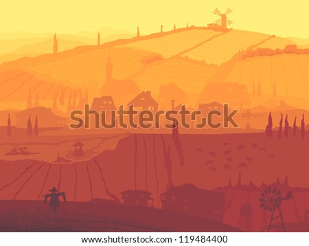 Vector abstract cartoon countryside of village with fields and mill in sunset. - stock vector