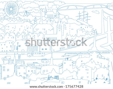 Vector abstract childish downtown  - stock vector