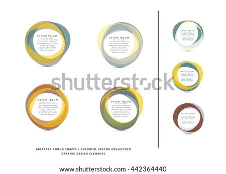 VECTOR ABSTRACT CIRCLE FRAME ELEMENTS , COLLECTION , METALLIC COLORS - stock vector
