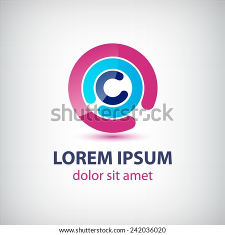 vector abstract circle loop logo, business icon isolated - stock vector