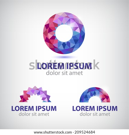 vector abstract circle round crystal colorful icon, logo set isolated - stock vector